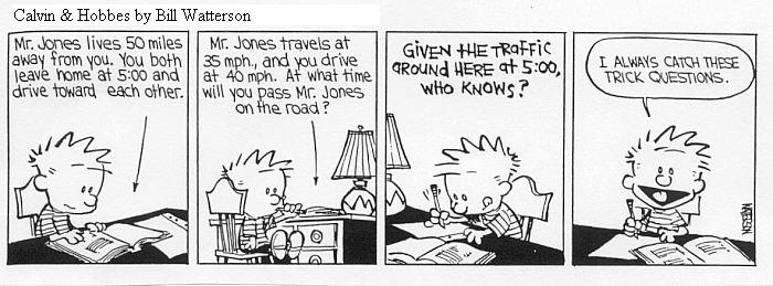 Calvin and Hobbes Joke about math class