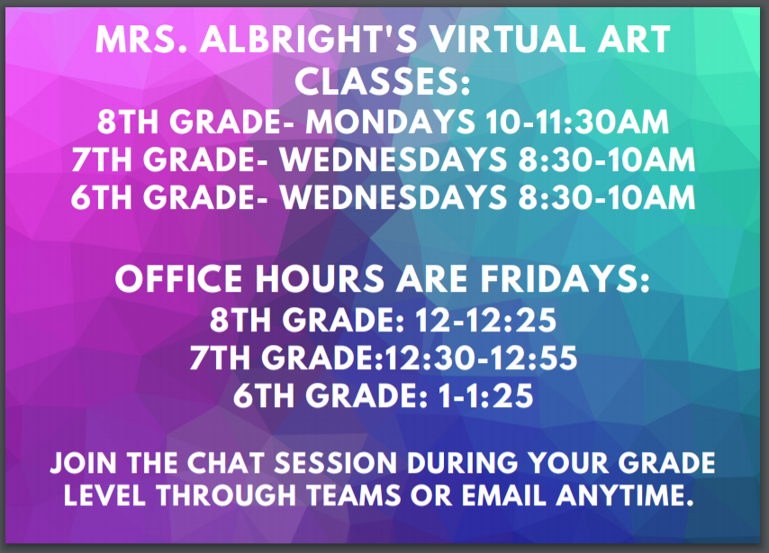 Virtual Art Classes and Office Hours on Fridays